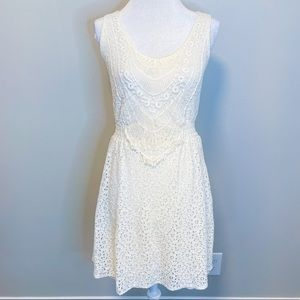 Maurice's Crochet Lace Cream White A Line Dress